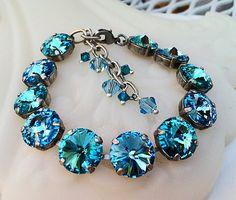 Tennis Crystal Bracelet, Swarovski Round Stone Bracelet, Aquamarine Bracelet…
