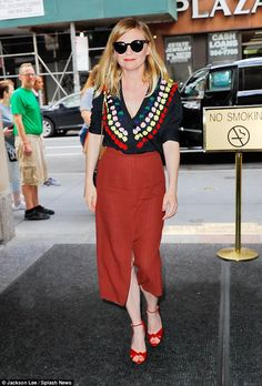 Classic and colorful: Kirsten Dunst opted for a very colorful number as she arrived at the...