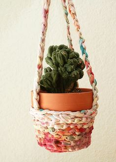 Hot Day, Cool DIY Craft: How to Make an Upcycled T-shirt Yarn Plant Hanger   BlogHer