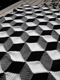 Isometric Blanket / Afghan - Geometric Black White & Grey Crochet. $250.00, via Etsy.