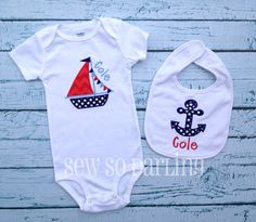 Baby Boy Nautical Sailboat Outfit Anchor Bib Set - Personalized baby outfit - Nautical baby gift set on Etsy, $29.00