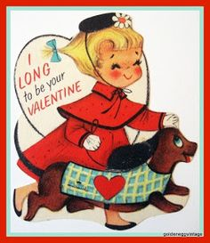 Vintage Valentine - little girl and Dachshund