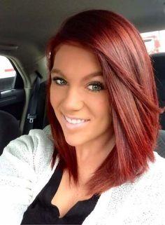 62 ideas hair red straight medium for 2019 Red Bob Hair, Red Ombre Hair, Burgundy Hair, Deep Red Hair Color, Bright Red Hair, Hair Color And Cut, Medium Red Hair, Medium Hair Styles, Long Hair Styles