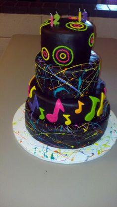Girls 12 & 13 splatter paint cake