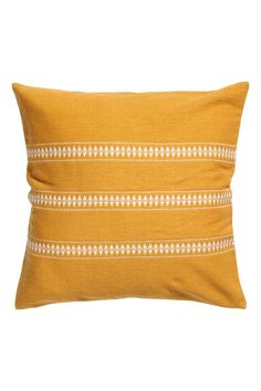 Jacquard-pattern cushion cover - Mustard yellow/Striped - | H&M GB 1