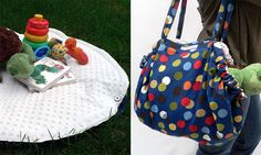 Playmat that folds into bag to carry toys - can buy on Etsy http://www.snugasabugbaby.com/my-etsy-shop/