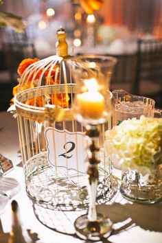 Suspended table numbers made for a sweet effect.