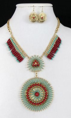 Cowgirl Bling Tribal Turquoise Coral Western Indian necklace Native Gypsy set LAST ONE!