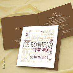 faire part de mariage original, pas cher, avec photo Jeu de Mots - réf K11A-C
