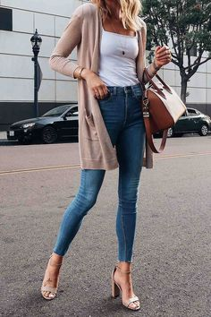 Women Jeans Outfit White Trousers Outfit Dressy Casual Outfits For Ladies Pink Swimsuits Og 107 Pants Casual Evening Dress Jeans And Heels Outfit – orchidrlily Trouser Outfits, Body Suit Outfits, Heels Outfits, Cardigan Outfits, Jean Outfits, Long Cardigan Outfit Summer, White Cardigan Outfit, Dressy Casual Outfits, Cute Outfits