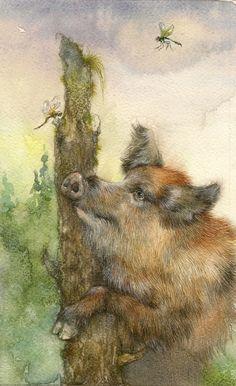 "illustration for the book ""Lobo"" by Ekaterina Borodacheva, via Behance Brave, Pig Drawing, Pig Illustration, Pig Art, Wild Boar, Watercolor Animals, Animal Paintings, Farm Animals, Amazing Art"