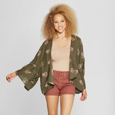 b65bd4c0501 Women s Floral Print Woven Patterned Flounce Sleeve Kimono Jacket -  Universal Thread™ Olive   Target