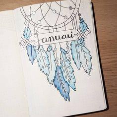 #bulletjournal #bulletjournaljunkies #bujo #bujojunkies #bujoinspiration #feathers #blue #dreamcatcher #january #bulletjournalsetup…