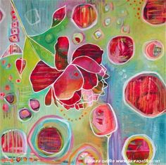 Colorful Contemporary Abstract Flower Giclee print by LauraGaffke, $25.00