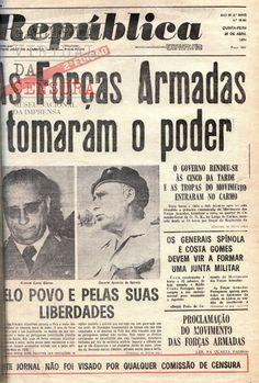 primeiras paginas de jornais do ano de Portugal - 1974 History Of Portugal, Rio Grande Do Norte, Old Newspaper, Vintage Posters, Brazil, Revolution, Nostalgia, Black And White, Books