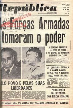 primeiras paginas de jornais do ano de Portugal - 1974