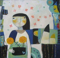 Summer Bloom, 30x30, mixed media on canvas....Barbara Olsen barbaraolsen.com