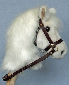 Top quality plush fur fabric with hardwood pole, wheels and leather bridle with bell. Horse Mane, Horse Head, Stick Horses, Wooden Wheel, Horse Pattern, Hobby Horse, Palomino, Felt Crafts, Real Leather