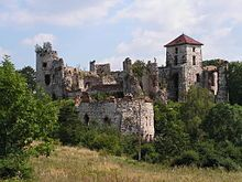 The Tenczyn Castle, otherwise known as the Tęczyn Castle, is a medieval castle in the village of Rudno, Poland. It was built as a seat of the powerful Tęczyński family.The castle fell into ruin during the Deluge in mid-17th century, after being pillaged and burned by Swedish-Brandenburgian forces looking for the Polish Crown Jewels and rumored treasures of the Tęczyński family.