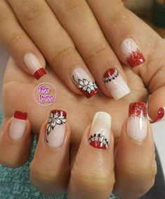 Flower, red nails, elegant nails rnrnSource by Red Nails, Glitter Nails, Elegant Nails, Fancy, Beauty, Work Nails, Polish Nails, Gold Nails, Red Toenails