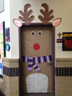 Reindeer/Rudolph classroom door decoration with a scarf comprised of TCU colors!