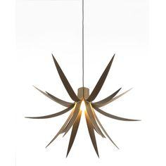 Iris Pendant Light  The Iris pendant light is an extension of the Iris theme seen in a prior MacMaster design, the Iris Floor Lamp. The pendant light is one of three new products successfully launched at 100% Design 2010. The Iris-inspired leaves are elegantly curved at three sets of angles and distanced to produce a perfectly proportioned pendant feature, and it casts a nice, ambient light.