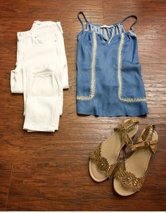 :Fun Adventurer Seeking Warm Weather: ✨😎 >>Casual chic with a vintage nod with •embroidered tank top ($39) •denim ($74) •sandals ($36)<<<Pair with fringe booties; peek toe booties; wedges; for alternative looks .  For immediate assistance or to ORDER call ☎️701-356-5080 (We Ship 📦
