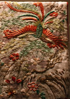 Overrobe (Uchikake) with Pattern of Long-Tailed Birds in a Landscape by peterjr1961, via Flickr