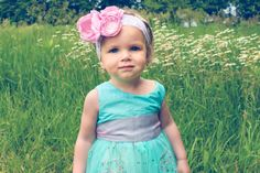 Pink Peony Shabby Chic Lace Flower Baby Headband by hollyblossoms on etsy