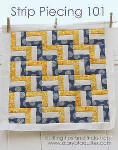 My next chevron quilt: make it 3 strips across.  Bigger blocks = less sewing = faster to the finish line!  Diary of a Quilter - a quilt blog: Strip Piecing Basics