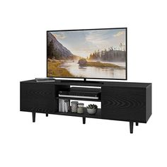 online shopping for WLIVE Mid-Century Modern TV Stand 55 TV, Entertainment Center Living Room from top store. See new offer for WLIVE Mid-Century Modern TV Stand 55 TV, Entertainment Center Living Room Living Room Tv, Living Room Furniture, Living Area, Black Tv Stand, Living Room Entertainment Center, Single Sofa, Lounge Areas, Mid-century Modern, Modern Room