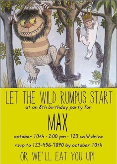 Where The Wild Things Are birthday invite