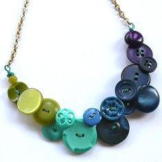 Peacock vintage button statement bib necklace. Chartruese, aqua, blue, navy, purple.