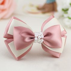 Forwell Handmade bowknot hair accessories for women string of beads pink and white compound bow hairpins headwear hair ornaments Ribbon Hair Bows, Diy Hair Bows, Diy Ribbon, Ribbon Crafts, Ribbon Flower, Diy Crafts, Diy Accessoires, Handmade Hair Bows, Making Hair Bows