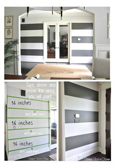 Painted Wide Wall Stripe Inspiration {Paint It Monday} - I used this tutorial to paint stripes in my laundry room, and this was SOO helpful! If i ever paint stripes again, i will be coming back to this. Painting Stripes On Walls, Paint Stripes, Wall Paint Colors, Painting Walls, Wall Stripes, Gray Stripes, Painting Tips, Up House, Piece A Vivre