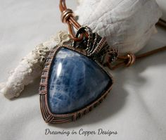 Sodalite and copper leather necklace by DreaminnCopperDesign