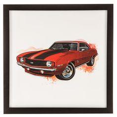 Red Camaro Vintage Car Splatter Black Framed Gallery Wall Art⎜Open Road Brands