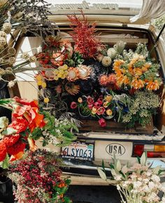 van full of flowers to buy