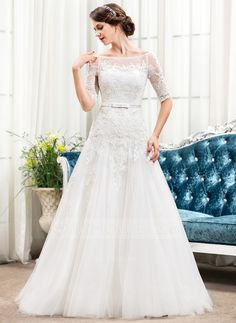 A-Line/Princess Off-the-Shoulder Sweep Train Satin Tulle Lace Wedding Dress With Bow(s) (002054351)