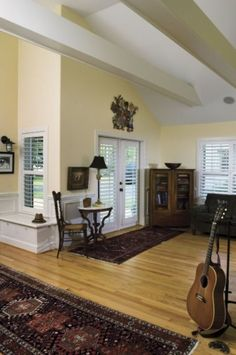 French Door Blinds Design, Pictures, Remodel, Decor and Ideas Patio Door Blinds, Sliding Patio Doors, Sliding Glass Door, Window Blinds, Wood Blinds, Window Seats, Blinds For French Doors, French Doors Patio, French Cottage Style