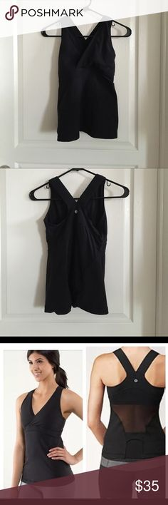 Lululemon Deep V-Tank Size 4 Racerback tank with wrap front and deep v-neck. Has mesh panel under bust and mesh back for breathability. Has built in mesh sports bra with no inserts and rear key pocket. Fabric is moisture wicking luon. Color is black. No rip tag or size dot, but fits a size 4 (my usual size). Worn, but still in good condition. No trades or Paypal. lululemon athletica Tops Tank Tops