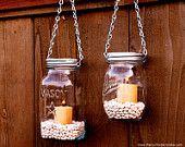 Hanging Mason Jar Garden Lights - DIY Lids Set of 6 Mason Jar Lantern Hangers or Flower Vase Hangers - Silver Chain - Regular Mouth Style. $24.00, via Etsy.