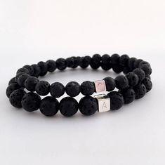 Personalised couples bracelets black lava bracelet his and