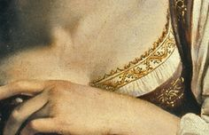 Fabulous closeup of the embroidery and bobbin lace trim.  from Caravaggio's St Cathrine 1598