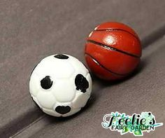 Basketball and Football www.teeliesfairygarden.com Let your fairies experience the fun what sports can bring! This basketball and football will keep your fairies and gnomes playing with glee. #fairyballs