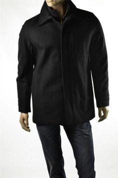 Calvin Klein Coat Mens Black Wool Jacket Full Zip Peacoat Sz L Large NWT RT $248 #CalvinKlein #Peacoat