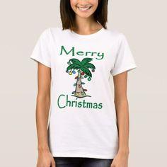 Merry Christmas Tropical Palm Tree T-Shirt