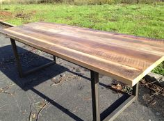 Reclaimed Wood Dining Table | Antique Oak Top | Black Iron Base