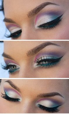♡♡♡ silver with color eye makeup