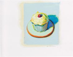 Wayne Thiebaud (B. 1920), My art teacher! Untitled (Cupcake). Oil and graphite on paper, image 5¼ x 4¼ in (13.3. x 10.8 cm), sheet 6⅞ x 8⅞ in (17.5 x 22.5 cm) Estimate $200,000-300,000. This lot is offered in Thiebaud from Thiebaud Prints and Works on Paper from the Private Studio of Wayne Thiebaud on 29 September 2016 at Christie's in New York